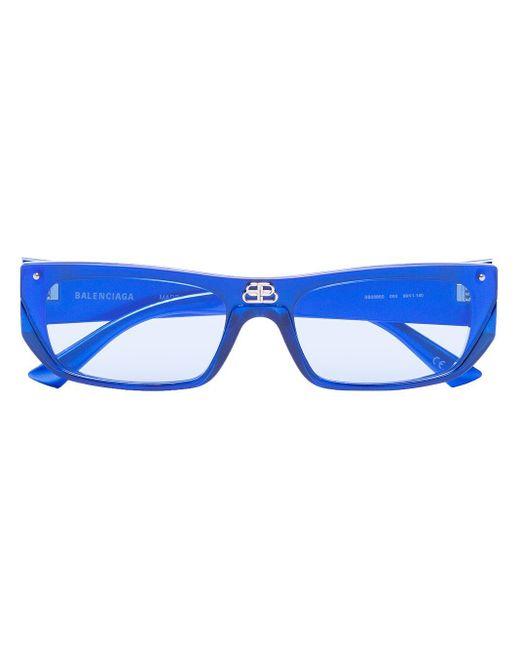 メンズ Balenciaga スクエアフレーム サングラス Blue