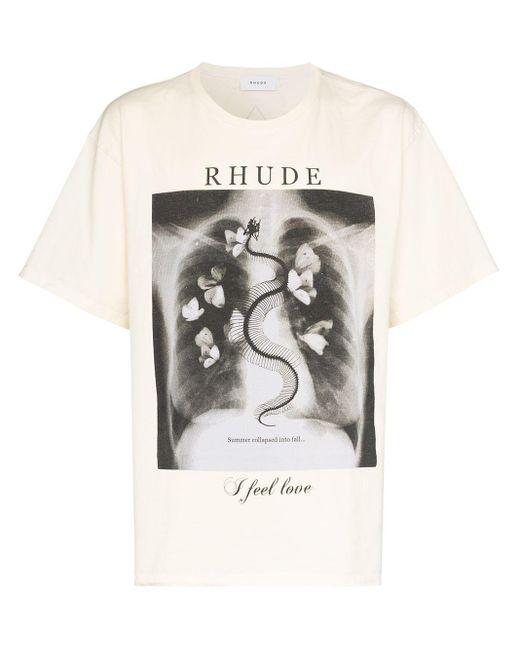 メンズ Rhude プリント Tシャツ White