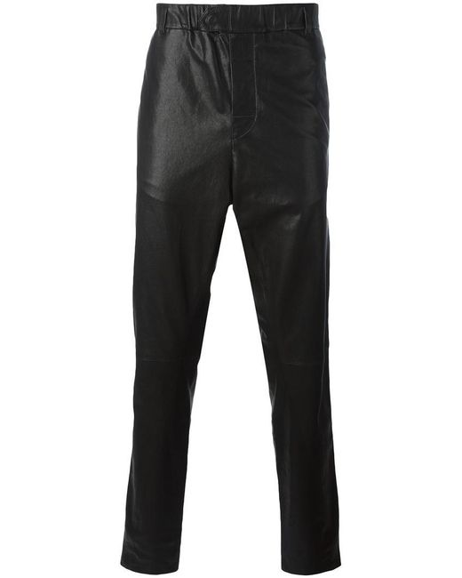 Ann Demeulemeester Grise - Black Leather Tapered Trousers for Men - Lyst