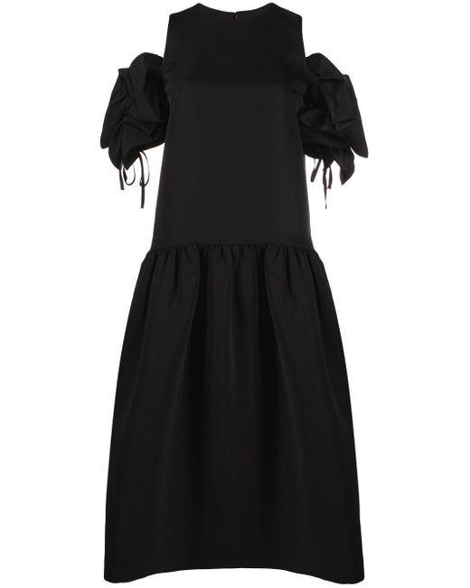 Victoria, Victoria Beckham Black Dropped-hem Dress With Ruffle-shoulder Detail