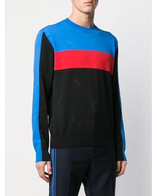 b3f604f2 ... KENZO - Black Logo Panel Sweatshirt for Men - Lyst ...