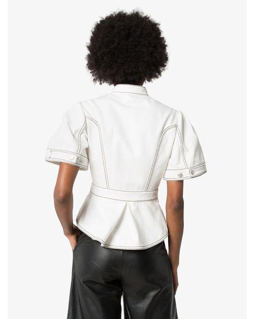 Alexander McQueen ペプラム デニムジャケット White