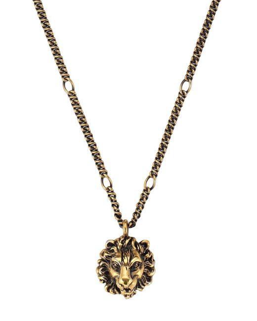 Gucci ライオンヘッド ペンダント付き ネックレス Metallic