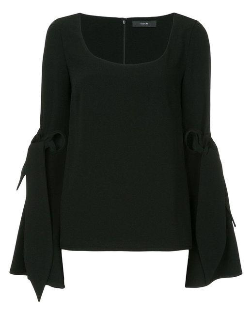 Ellery - Black Maya Tie Sleeve Blouse - Lyst
