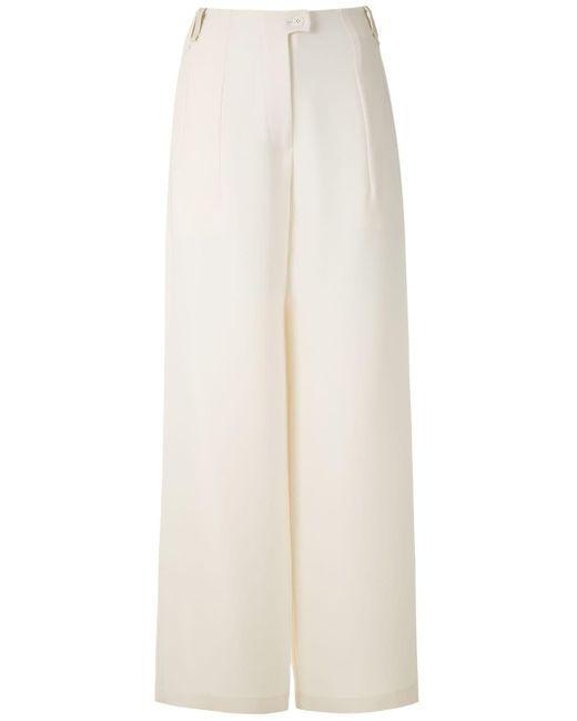 Gloria Coelho Pantalones anchos de pinzas de mujer de color blanco