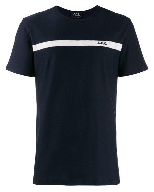 メンズ A.P.C. ストライプ Tシャツ Blue