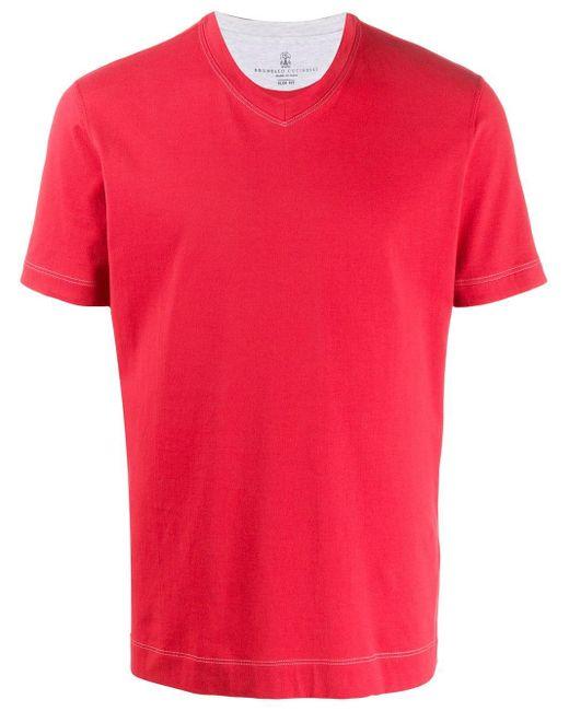 メンズ Brunello Cucinelli Vネック Tシャツ Multicolor