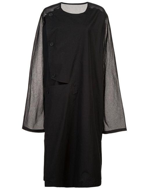 Yohji Yamamoto - Black Collarless Shirt Coat - Lyst