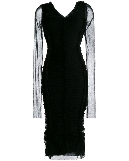 Dolce & Gabbana - Black Ruched Fitted Dress - Lyst