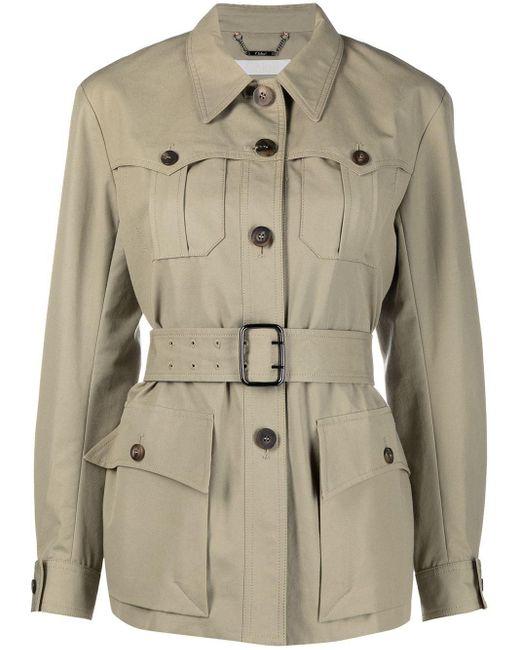 Chloé Natural Multiple-pocket Belted-waist Jacket