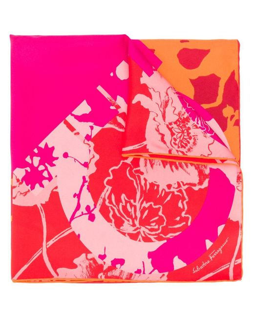 Ferragamo フローラル スカーフ Pink