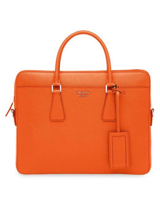 メンズ Prada ロゴ ビジネスバッグ Orange