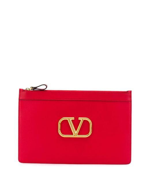Valentino Garavani Vロゴ クラッチバッグ Red