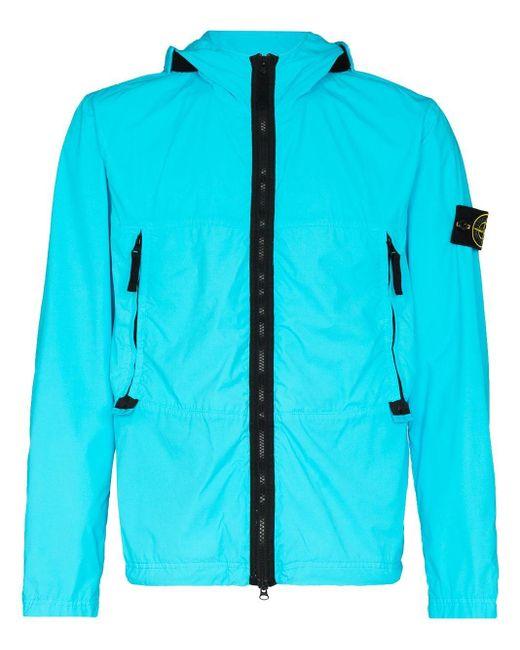 Veste zippée à patch logo Stone Island pour homme en coloris Blue