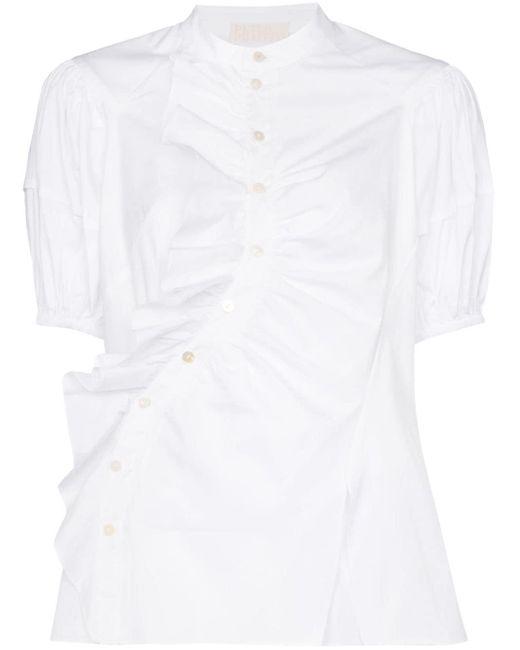 Peter Pilotto White Puff-sleeve Ruffle Detail Blouse