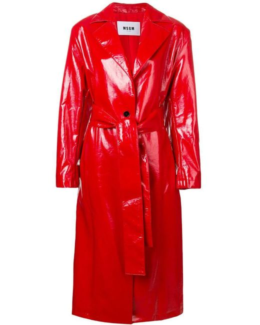 MSGM - Red Belted Trench Coat - Lyst