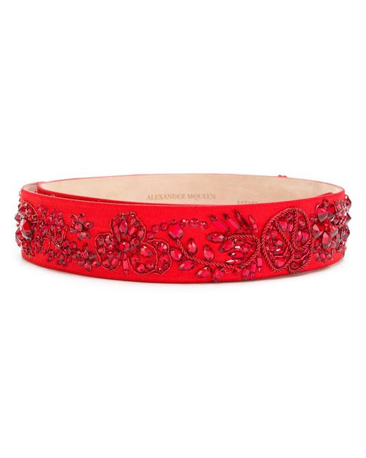Alexander McQueen - Red Bejewelled Belt - Lyst