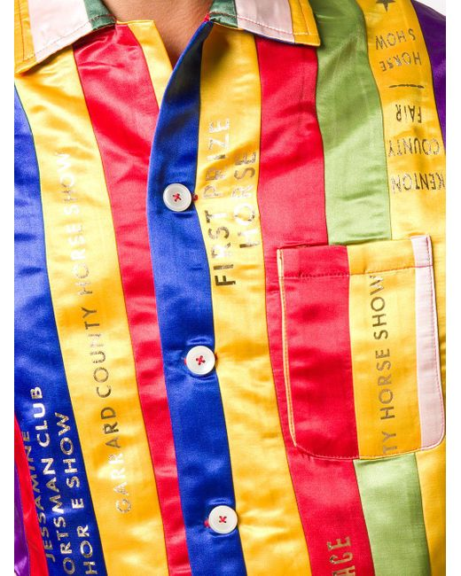 メンズ Bode Rainbow Chenille ストライプ シャツ Red