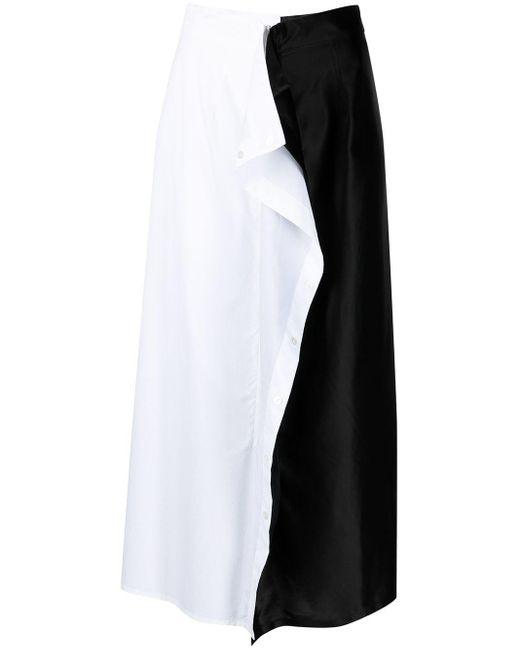 Двухцветная Юбка Миди С Оборками MM6 by Maison Martin Margiela, цвет: Black