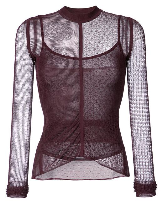 Jason Wu | Red Lace And Net Detailed Top | Lyst