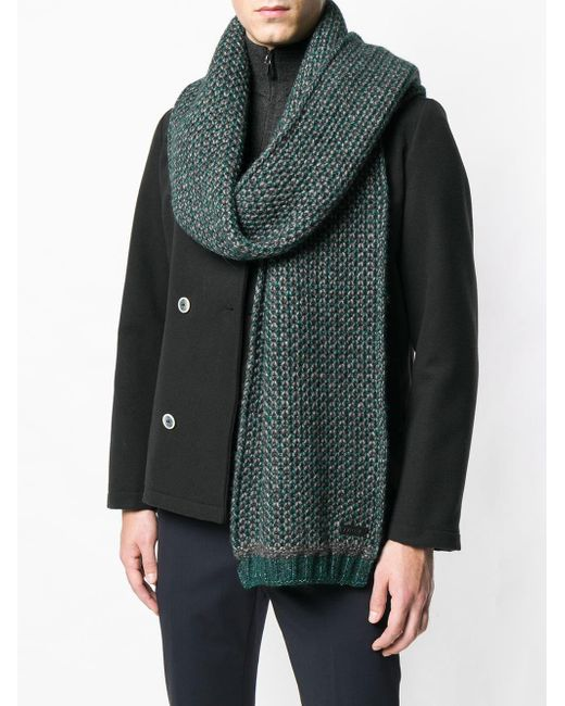 Z Zegna Long Chunky Knit Scarf in Green for Men - Lyst