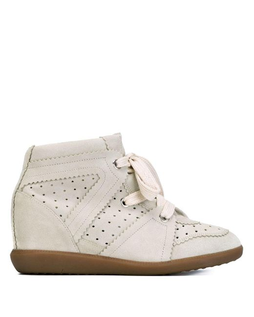 Isabel Marant White Étoile 'bobby' Concealed Wedge Sneakers