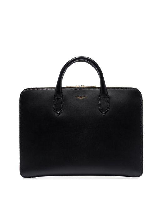 メンズ Dolce & Gabbana メタリックロゴ レザーブリーフケース Black