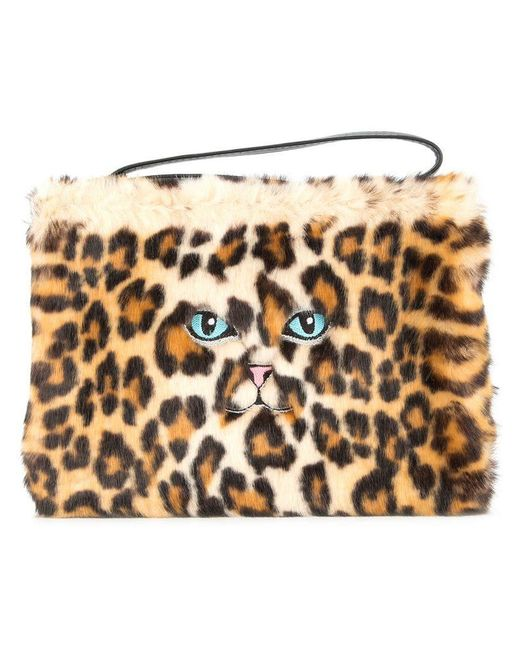 Vivetta - Brown Faux Leopard Fur Clutch Bag - Lyst