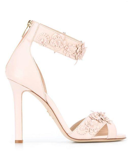Elie Saab - Pink Floral Studs Sandals - Lyst