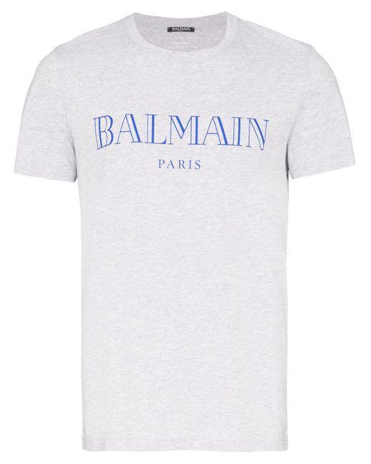 T-shirt à logo Balmain pour homme en coloris Gray