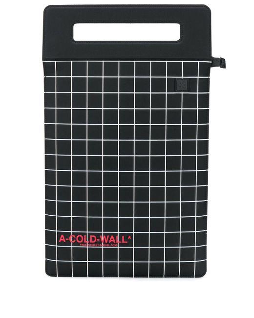 メンズ A_COLD_WALL* スクエアプリント ハンドバッグ Black