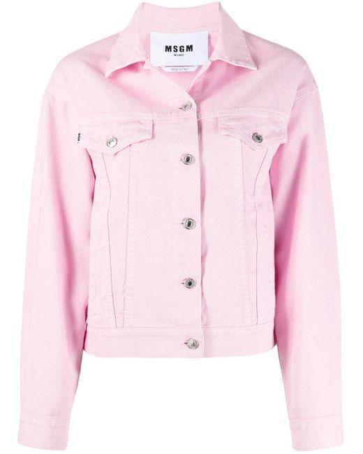 Джинсовая Куртка С Логотипом MSGM, цвет: Pink
