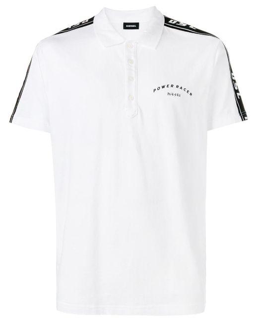 メンズ DIESEL サイド ストライプ ポロシャツ White