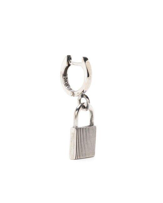 Emanuele Bicocchi Metallic Lock-detail Hoop Earring for men