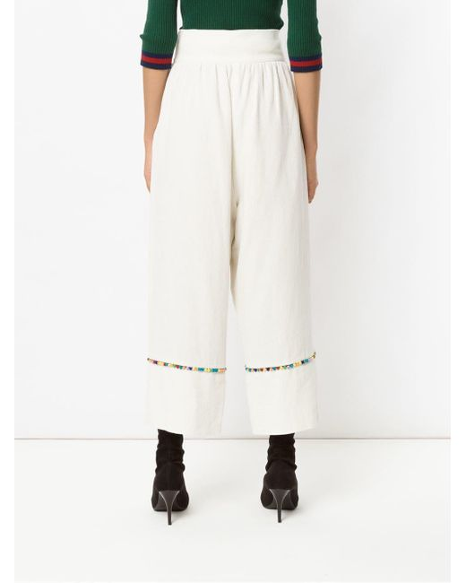 Inca Pompom Pantacourt Trousers Olympiah, цвет: White