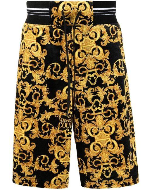 Versace Jeans Black Logo Baroque-print Track Shorts for men