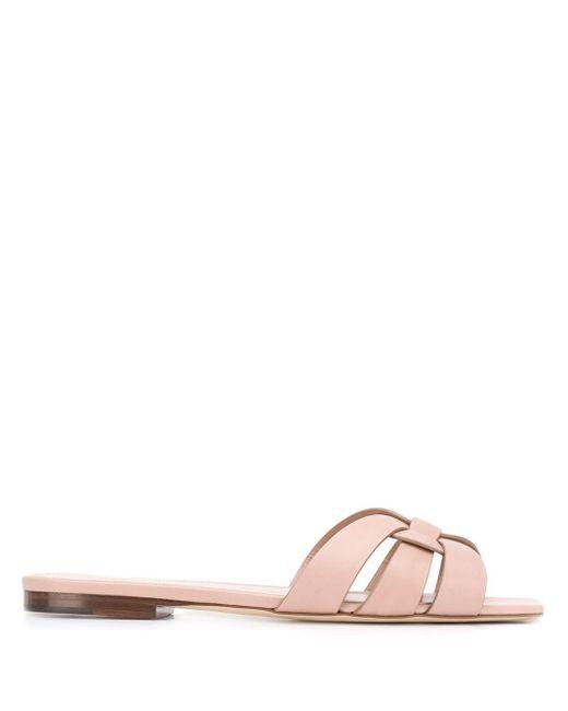 Saint Laurent Multicolor Tribute Flat Leather Sandals