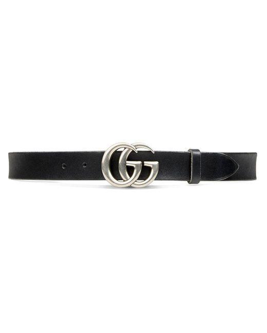 メンズ Gucci グッチレザー ベルト(ダブルg バックル) Black