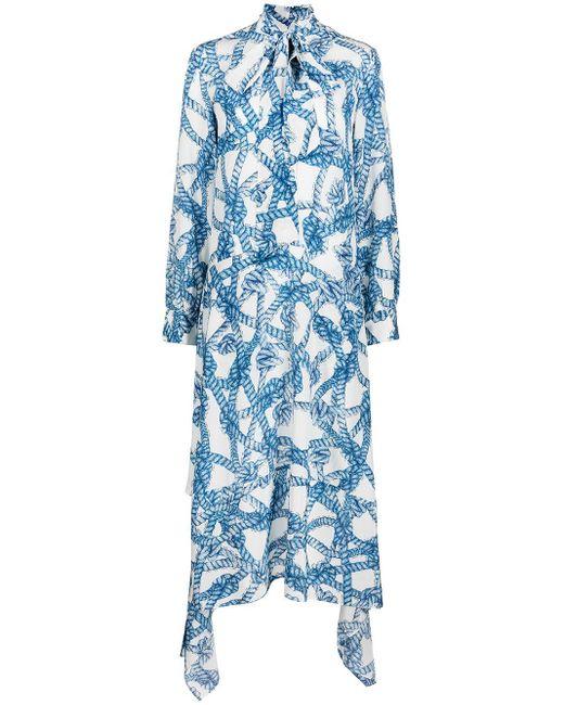 ROKH ローズプリント ドレス Blue