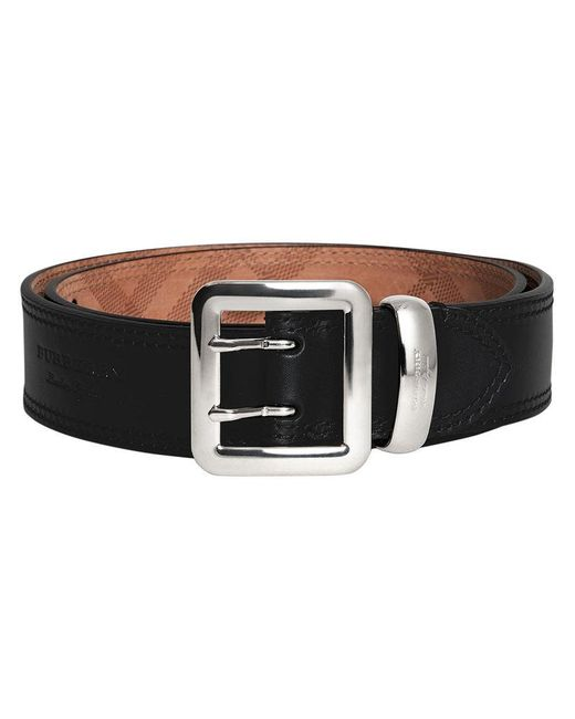Burberry - Black Topstitch Detail Belt for Men - Lyst