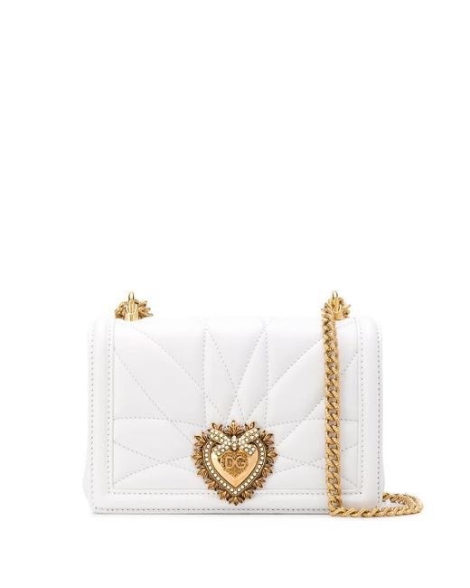 Dolce & Gabbana White Large Devotion Bag In Quilted Nappa Leather