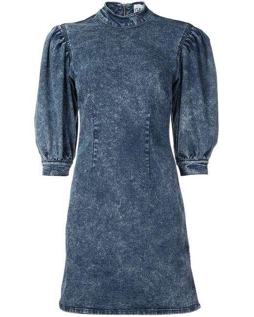 Ganni Robe en jean à effet délavé femme de coloris bleu HYadK