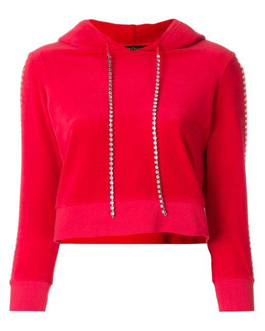 Juicy Couture Red Swarovski Embellished Velour Hoodie