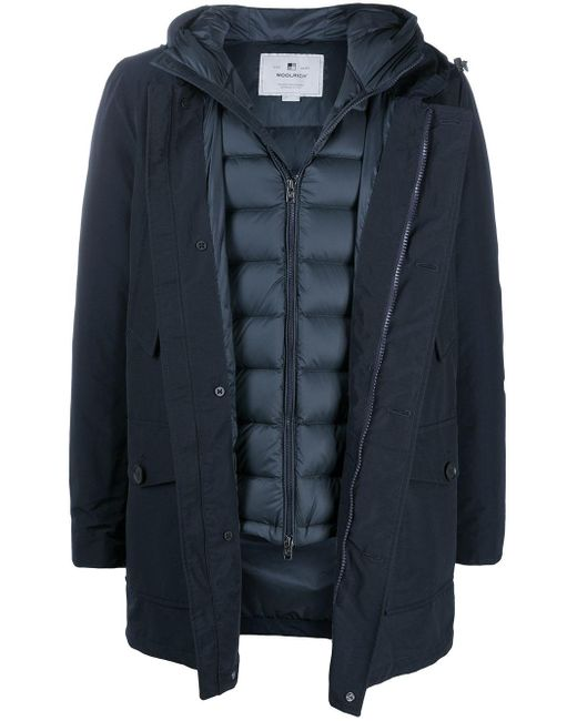 Woolrich Blue Layered Padded Coat for men