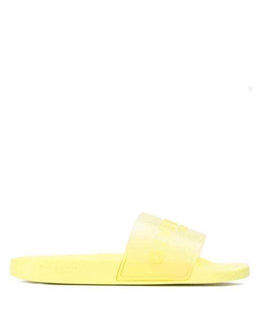 メンズ Givenchy イエロー ロゴ スライド Yellow