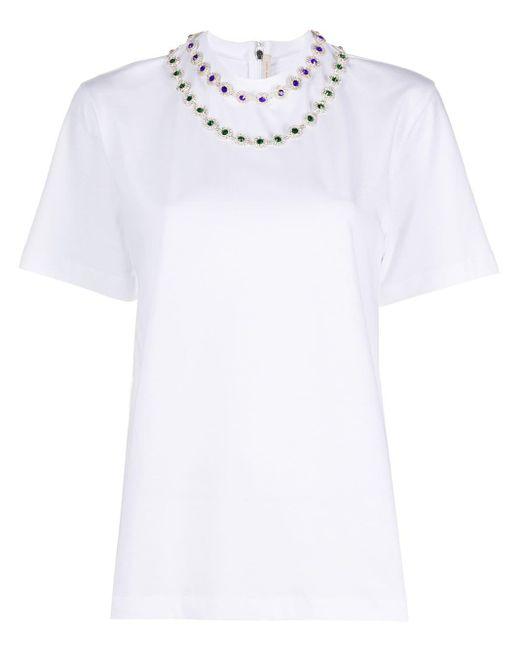 Christopher Kane フローラル クリスタル Tシャツ White