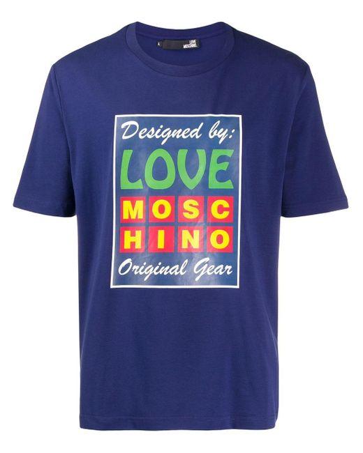 メンズ Love Moschino プリント Tシャツ Blue