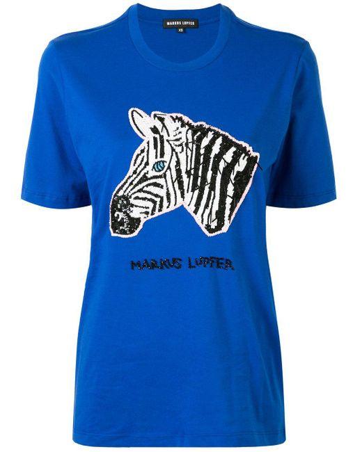 Markus Lupfer スパンコール Tシャツ Blue