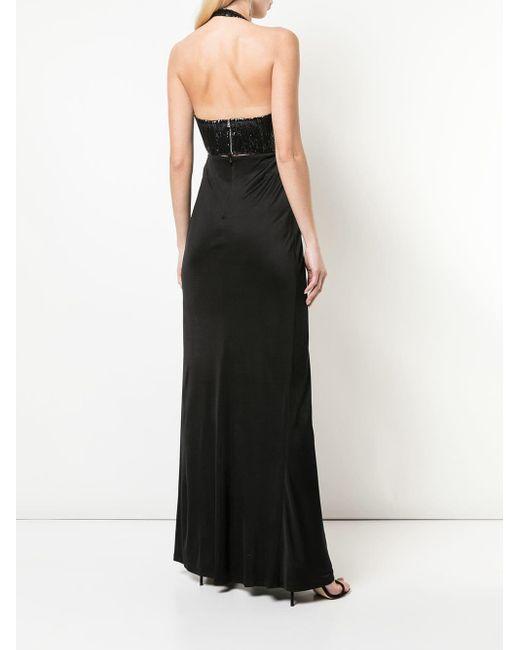 Galvan スパンコール ロングドレス Black