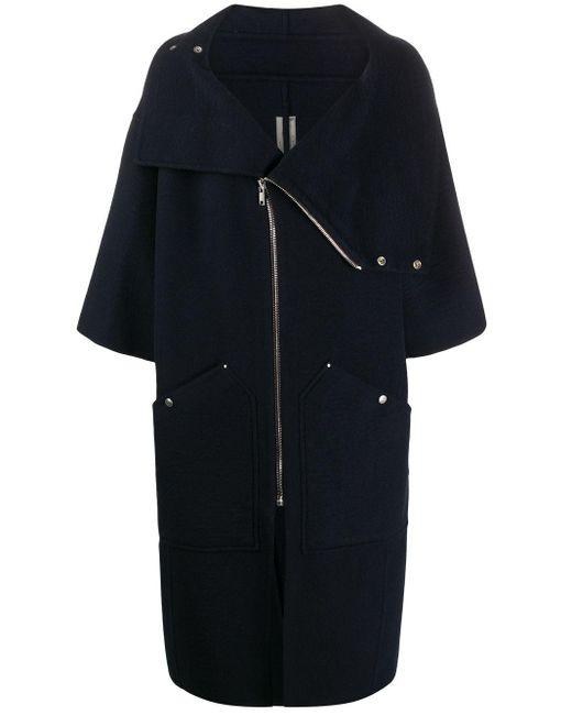 Manteau oversize à col montant Rick Owens en coloris Blue